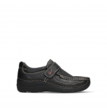 wolky slipons 06221 roll strap 70000 black printed leather
