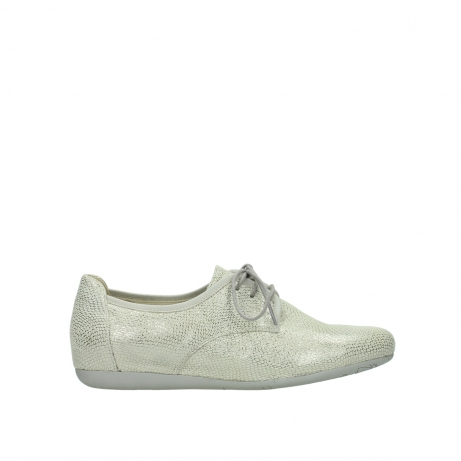wolky lace up shoes 00112 stuart 20120 off white silver printed leather