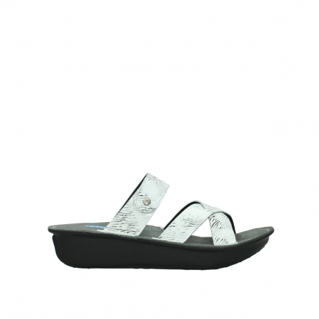 wolky slippers 00878 barbados 70110 white black canal leather