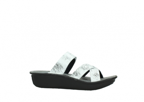 wolky slippers 00878 barbados 70110 white black canal leather_14