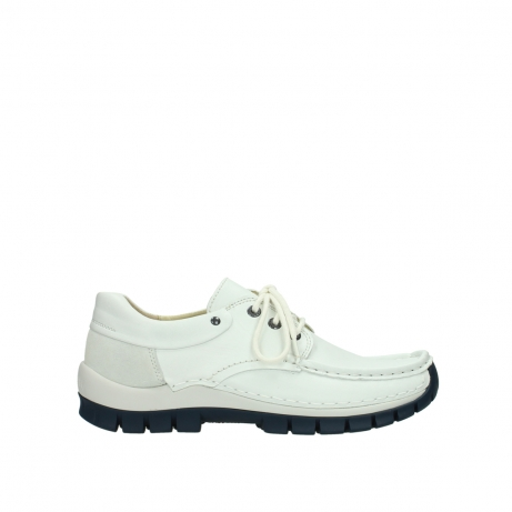 wolky lace up shoes 04701 fly 70108 white leather blue sole