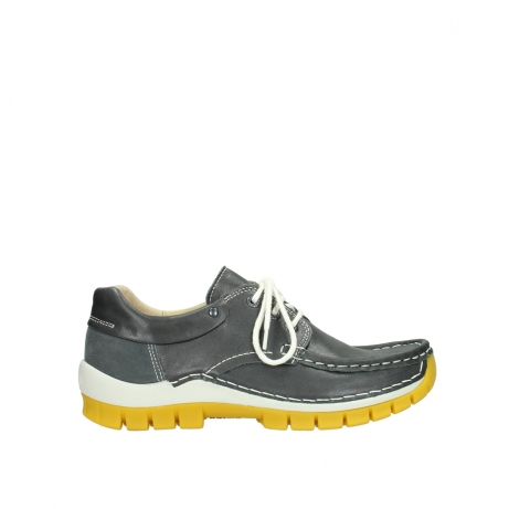 wolky lace up shoes 04701 fly 70209 grey leather yellow sole