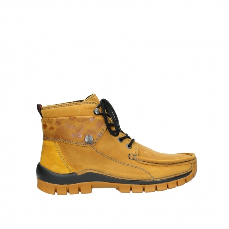 wolky bottines a lacets 04725 jump winter 59930 cuir jaune curry