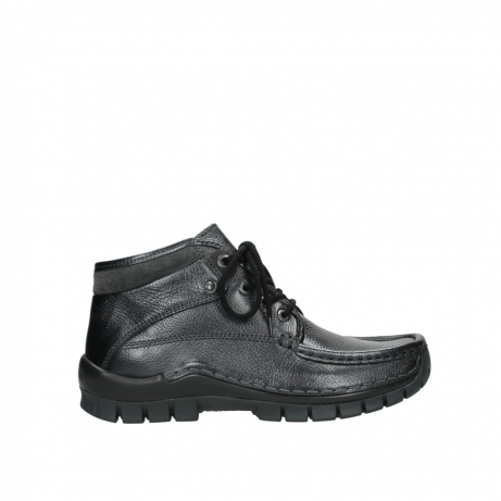 wolky lace up boots 04728 cross winter 81000 black metallic leather