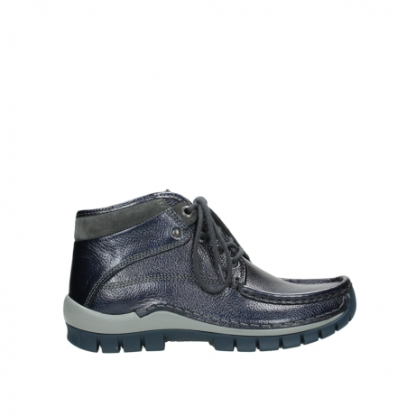 wolky lace up boots 04729 cross winter cw 81800 blue metallic leather