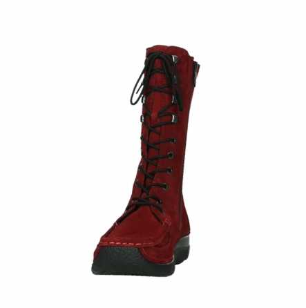wolky halbhohe stiefel 06210 roll fashion 40540 winter rot geoltem veloursleder_18