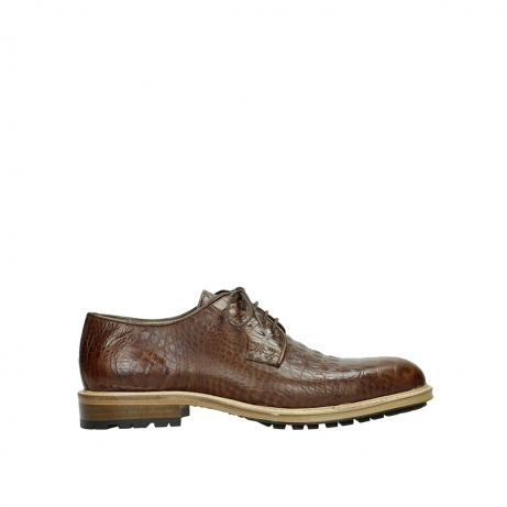 wolky lace up shoes 09403 turin 90430 cognac croco leather