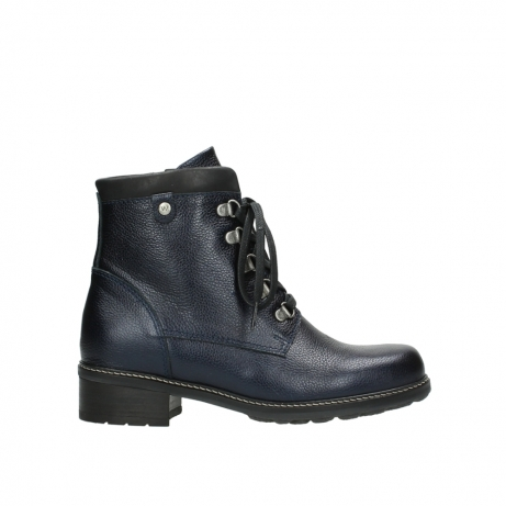 wolky lace up boots 04475 ronda 81800 blue metallic leather