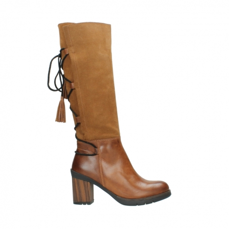 wolky high boots 08062 atasu 34430 cognac leather with suede