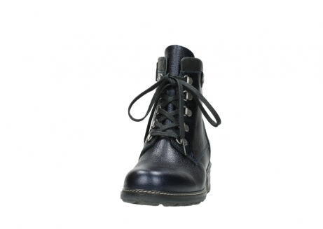 wolky lace up boots 04475 ronda 81800 blue metallic leather_20