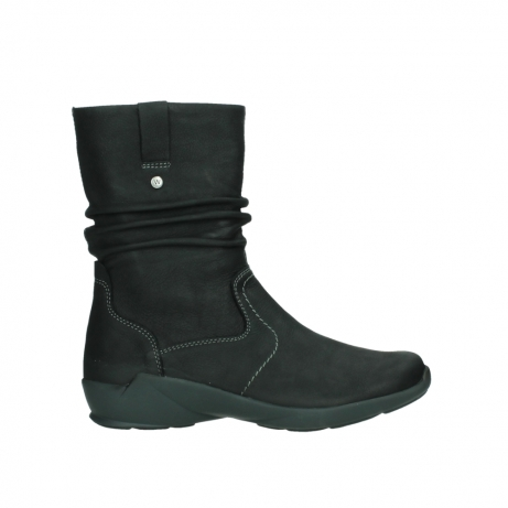 wolky mid calf boots 01572 luna 11002 black nubuck