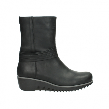 wolky mid calf boots 03823 angel cw 50002 black leather
