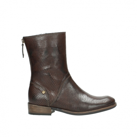 wolky mid calf boots 04511 yunnan 30430 cognac snake print leather