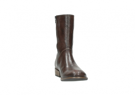 wolky mid calf boots 04511 yunnan 30430 cognac snake print leather_18