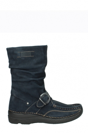 wolky mid calf boots 06267 roll jacky 50800 blue oiled leather