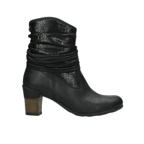 wolky mid calf boots 07741 mendez 90000 black craquele leather