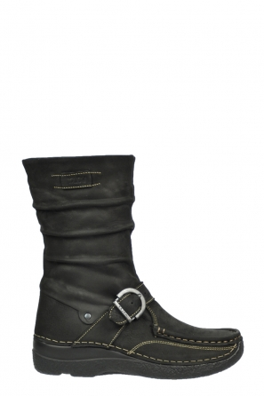 wolky halfhoge laarzen 6267 roll jacky 500 zwart geolied leer