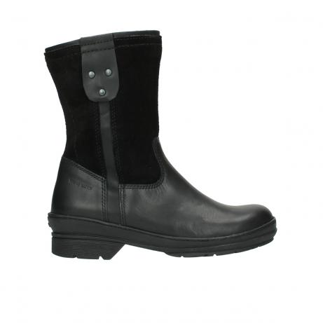 wolky halfhoge laarzen 7628 wilton wp 500 zwart leer water proof vachtvoering