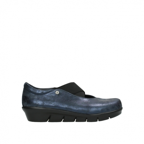 wolky slippers 00665 cursa 10823 marineblau metallic nubuk