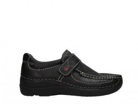 wolky slipons 06221 roll strap 70000 black printed leather_1