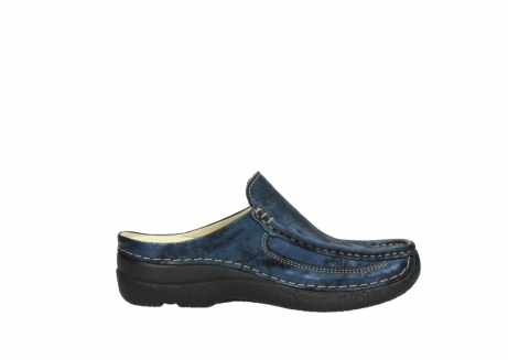 wolky clogs 06202 roll slide 10823 marineblau metallic nubuk_13