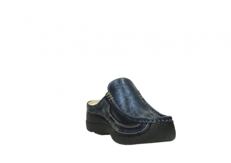 wolky clogs 06202 roll slide 10823 marineblau metallic nubuk_17