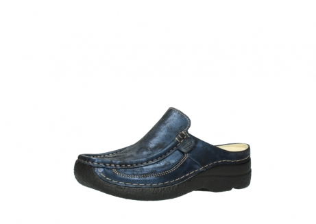wolky clogs 06202 roll slide 10823 marineblau metallic nubuk_23