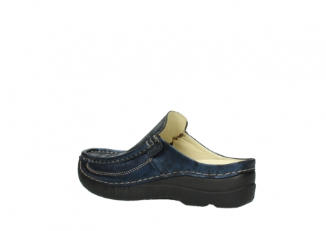 wolky clogs 06202 roll slide 10823 marineblau metallic nubuk_3
