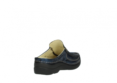 wolky clogs 06202 roll slide 10823 marineblau metallic nubuk_9