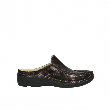 wolky clogs 06202 roll slide 90300 brown craquele leather
