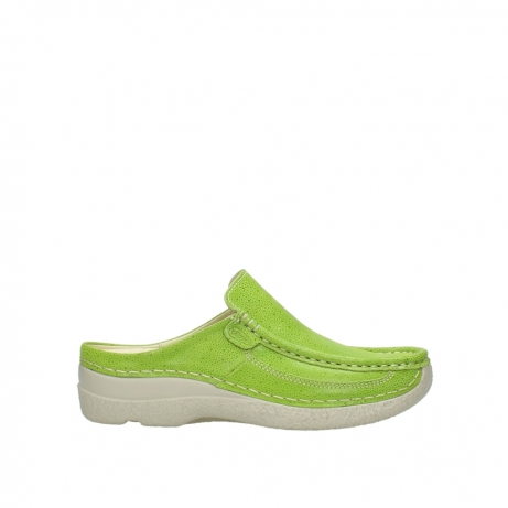 wolky clogs 06202 roll slide 90750 lime dots nubuck