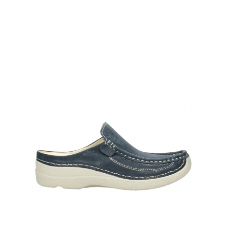 wolky klompen 06202 roll slide 90820 denim blauw dots nubuck
