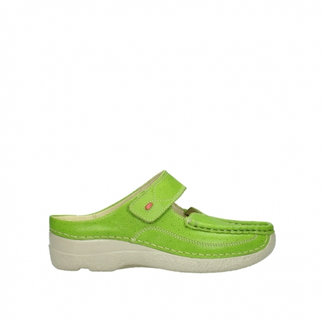 wolky pantoletten 06227 roll slipper 90750 lime dots nubuck