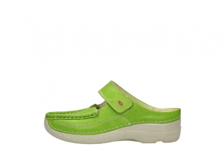 wolky pantoletten 06227 roll slipper 90750 lime dots nubuck_1