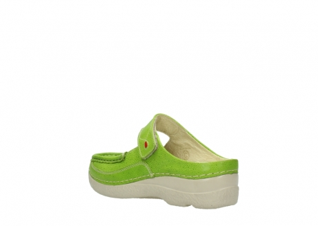wolky pantoletten 06227 roll slipper 90750 lime dots nubuck_4