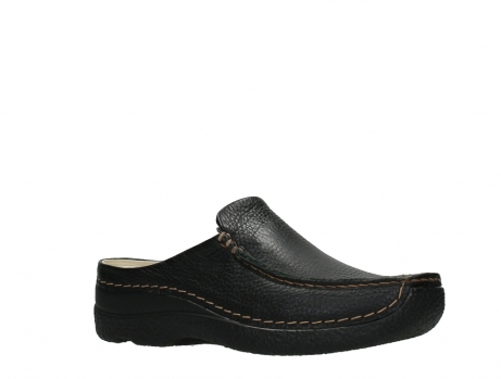 wolky slippers 06250 seamy slide 70000 black printed leather_3