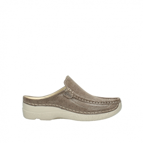 wolky klompen 6202 roll slide 915 taupe dots nubuck