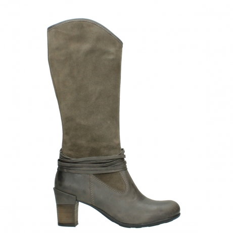 wolky hohe stiefel 7742 moss 415 taupe veloursleder