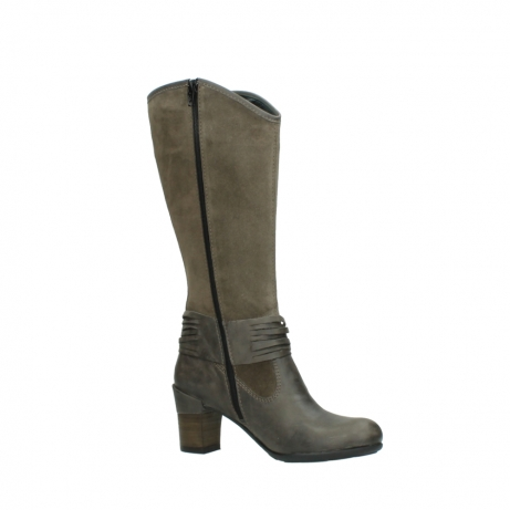 wolky hohe stiefel 7742 moss 415 taupe veloursleder_15