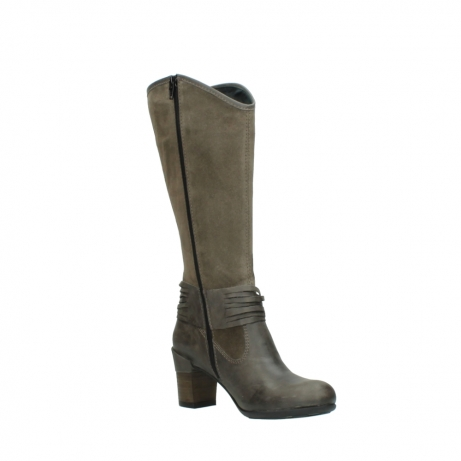 wolky hohe stiefel 7742 moss 415 taupe veloursleder_16
