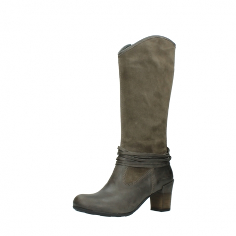 wolky hohe stiefel 7742 moss 415 taupe veloursleder_23