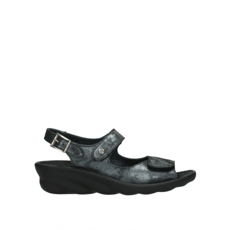 wolky sandalen 03125 scala 10000 zwart antraciet geborsteld nubuck