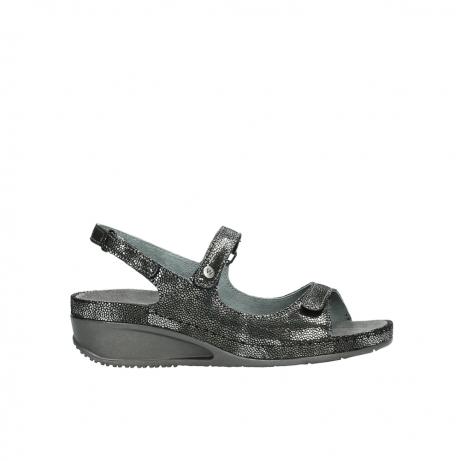 wolky sandalen 0425 shallow 600 zwart kaviaarprint leer