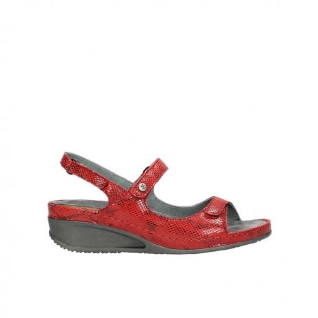 wolky sandalen 0425 shallow 650 rood kaviaarprint leer