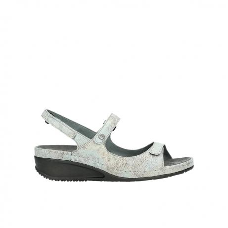 wolky sandalen 0425 shallow 679 mintgroen kaviaarprint leer