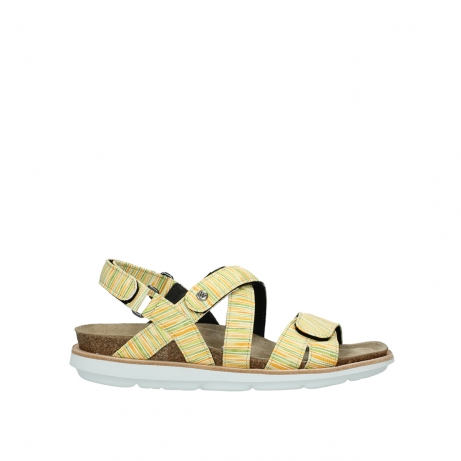 wolky sandalen 08480 sunstone 94907 yellow green leather