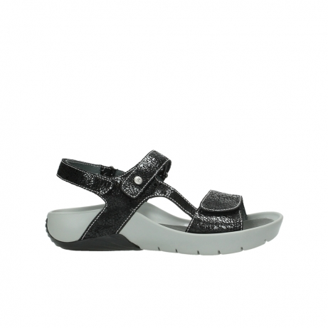 wolky sandalen 1126 bullet 400 zwart craquele leer