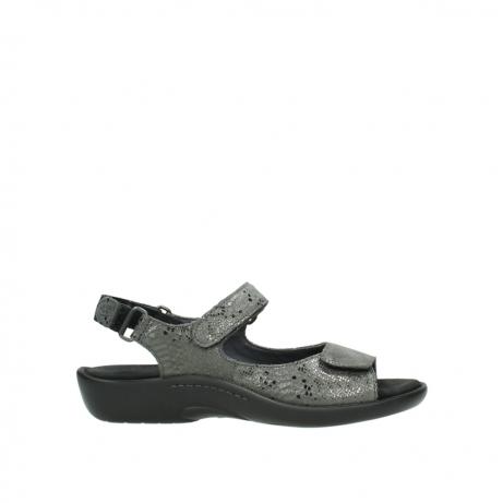 wolky sandalen 1300 salvia 621 antraciet craquele metallic leer