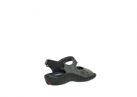 wolky sandalen 1300 salvia 621 antraciet craquele metallic leer_10