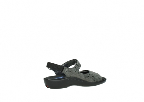wolky sandalen 1300 salvia 621 antraciet craquele metallic leer_11